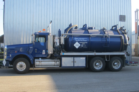 D&L Environmental Services septic truck at facility in Kelowna