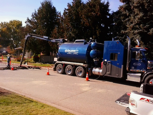 D&L Environmental Vacuum Truck at a job site in Kelowna BC