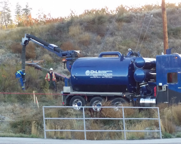 D&L Environmental Vacuum Truck job site in Kelowna BC