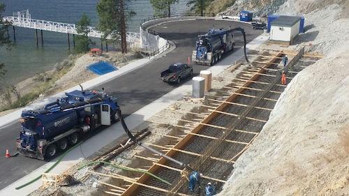 D&L Environmental Vacuum Trucks at a job site