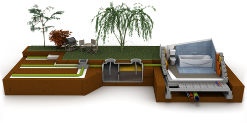 3d rendering of septic system at house