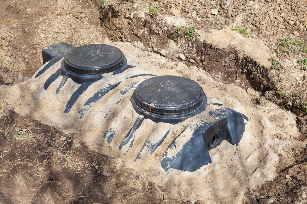 septic tank on home lawn